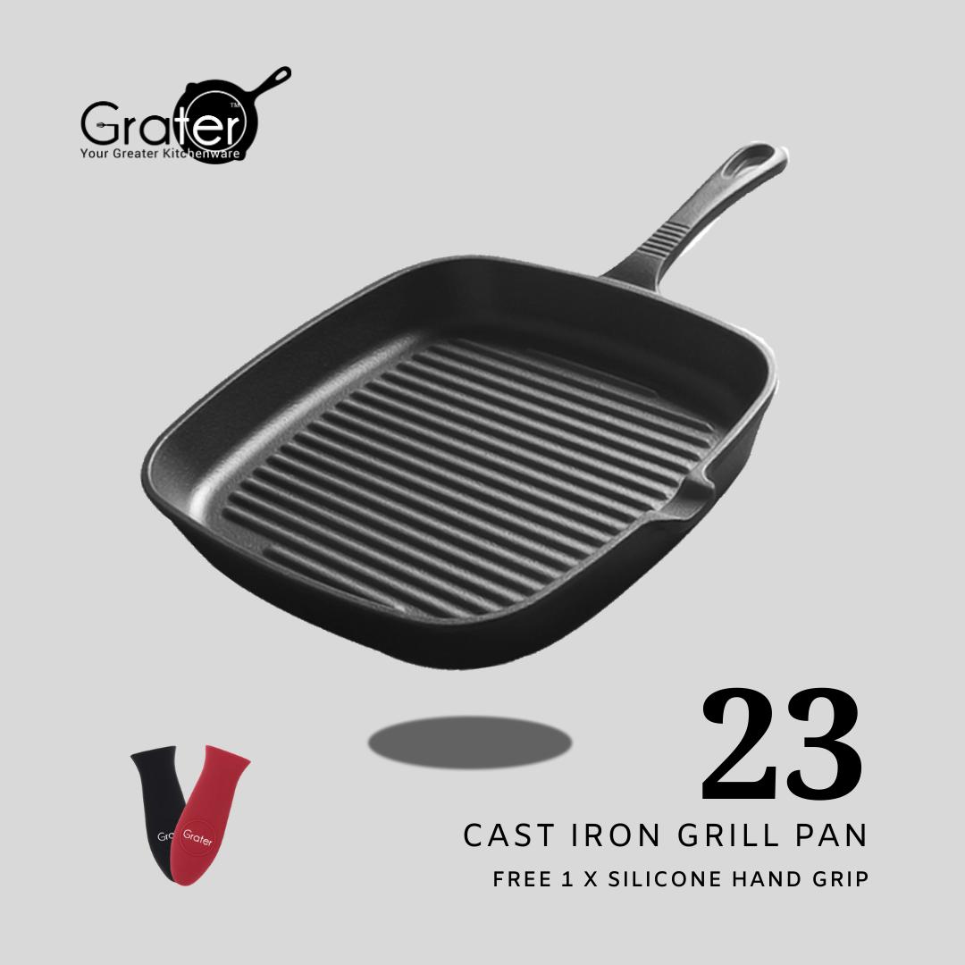 23cm / 9in Pre-seasoned Square Cast Iron Grill Pan