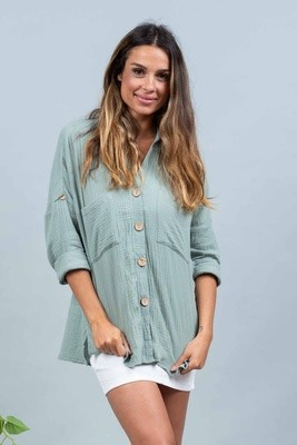 Absolutely Fabulous Cotton Shirt - Sage