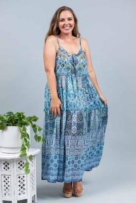 Resort Living Singlet Maxi Dress - Blue Tile