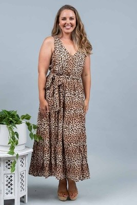 Wild One Maxi Dress - Tan Leo