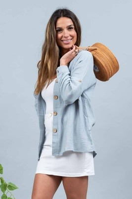 Absolutely Fabulous Cotton Shirt - Denim Blue