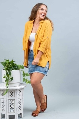 Absolutely Fabulous Cotton Shirt - Mustard