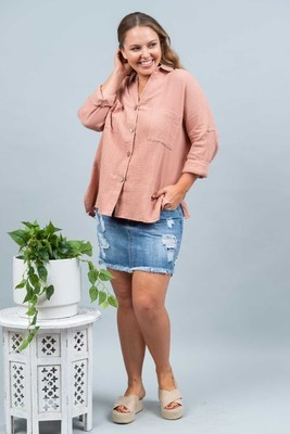 Absolutely Fabulous Cotton Shirt - Blush