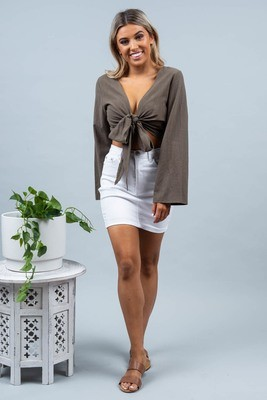 Beatnik Long Sleeve Top - Khaki