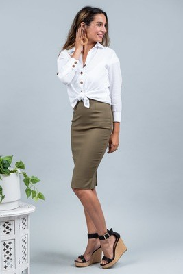 Love U Basics Pencil Skirt - Khaki