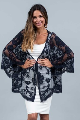 Summer Loving Short Lace Cape - Navy