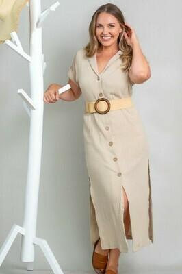 Absolutely Fabulous Cotton Midi Dress - Sand