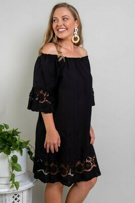 Free Spirit Embroidered Dress - Black