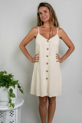 Cookies And Cream Button Singlet Dress - Natural