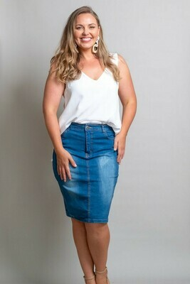 Wanda Denim Midi Skirt - Dark Denim
