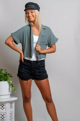 Absolutely Fabulous S/S Crop Cotton Shirt - Petrol Green
