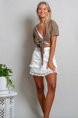 Byron Fringe Skirt - White