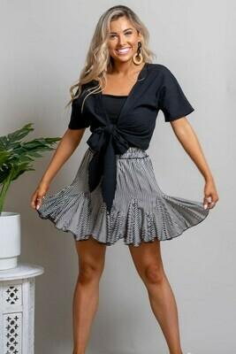Elouera Frill Mini Skirt - Black/White Stripe