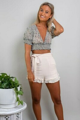 Sweet Heart Frill Shorts - Light Latte