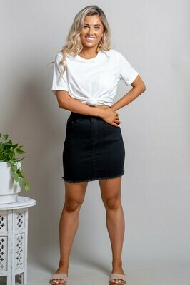 Shelly Fray Denim Mini Skirt - Black