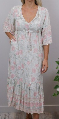 Tanny BoHo Frill Maxi Dress - Multi/Blush Bloom