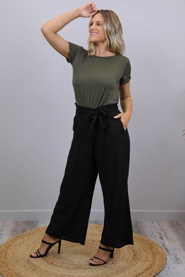 Back To Basics Linen Dress Pants - Black