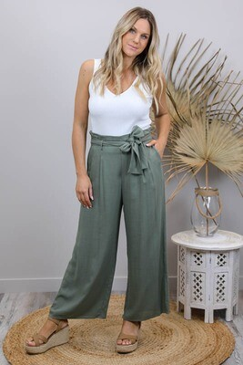 Back To Basics Linen Dress Pants - Sage