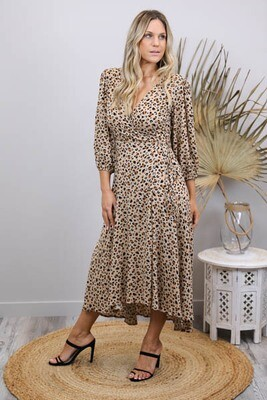Carmen L/S Wrap Midi Dress - Mocha Leo