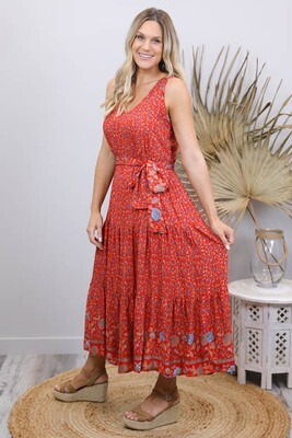 Wild One Maxi Dress - Red/Blue Fleur
