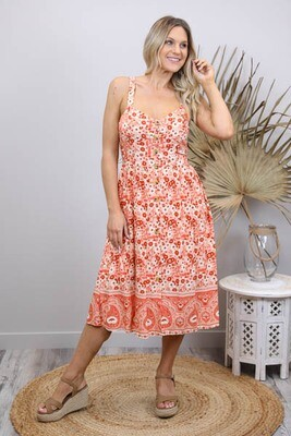 Shelly Beach Button Midi Dress - Terracotta/White Fleur Wide Strap
