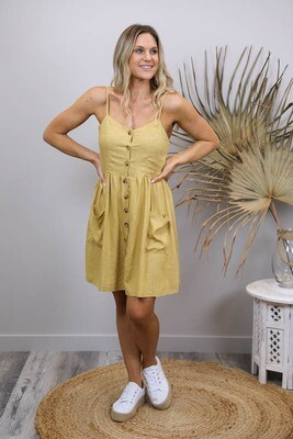 Shelly Beach Button Miniish Dress - Mustard Linen Blend Thin Strap