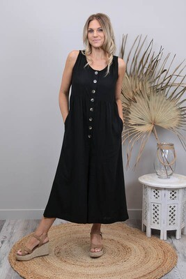 Out And About Button Linen Blend Jumpsuit - Black