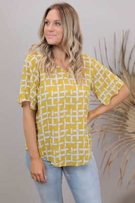 Betty Button Back Cotton Blend Top - Mustard Abstract