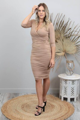 Bella Rouge Crossover Dress - Coffee