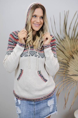 Winter Surf Hood Jumper - Stone Multi