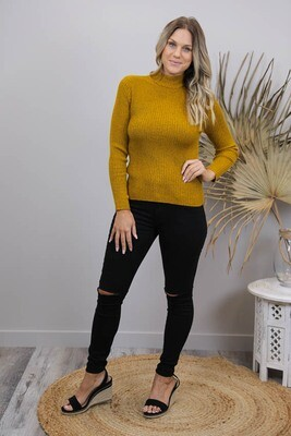 Back To Basics Rib Jumper - Mustard