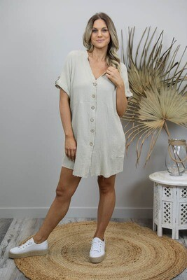 Absolutely Fabulous S/S Fray Shirt/Dress - Limestone