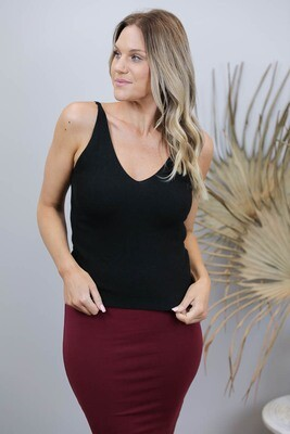 Kylie Knit Long Top - Black