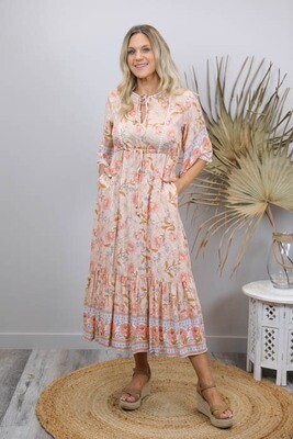 Tanny BoHo Frill Maxi Dress - Sky/Apricot Bloom