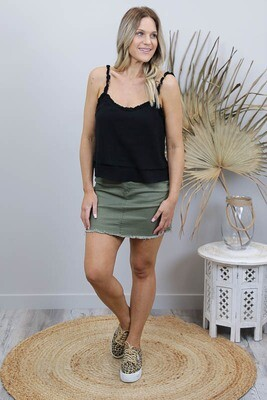 Shelly Fray Denim Mini Skirt - Khaki