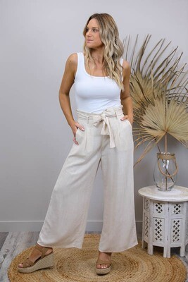 Back To Basics Linen Dress Pants - Natural