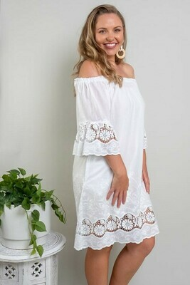 Free Spirit Embroidered Dress - White