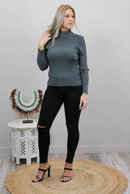 Back To Basics Rib Jumper - Dark Gray