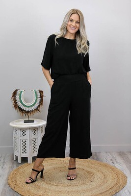 Hummingbird Linen Blend Culotte Pants - Black