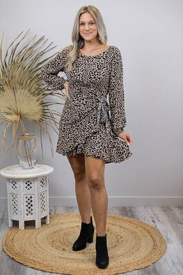 Safari L/S Frill Wrap Mini Dress - Mocha/Black Leo
