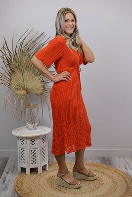 Rhythm Knit Midi Dress - Blood Orange