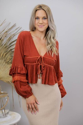 Chicka Boom BoHo Top/Bolero - Rust