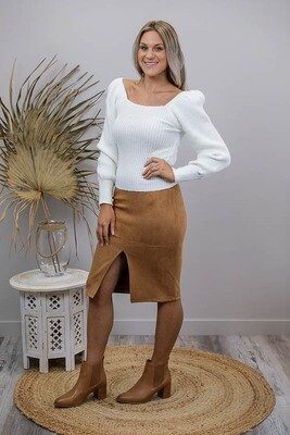 Pinot Faux Suede Knee Skirt - Tan