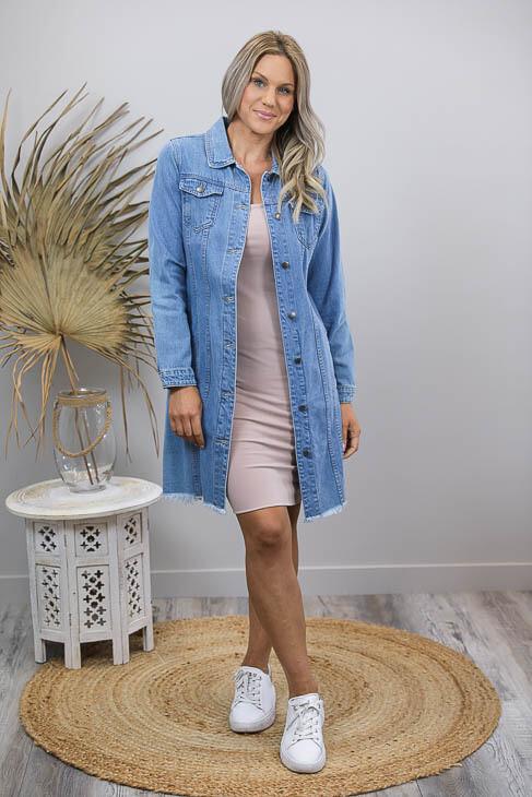 Favourite Long Fray Denim Jacket/Dress - Mid Denim