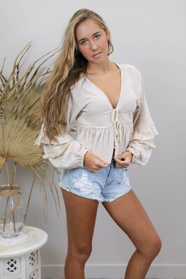Chicka Boom BoHo Top/Bolero - Latte