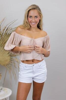 Bojangles On/Off Shoulder Crop Top - Blush