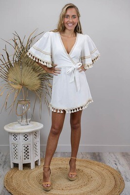 Sultry Days Tassel Mini Dress - Ivory