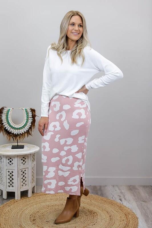 Lola Knit Midi Skirt - Blush/White Leo