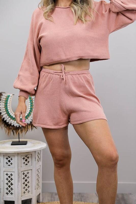 Driftwood Knit Shorts - Blush