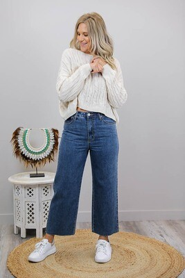 Mumma Bear Fray Flare Mum Jeans - Dark Denim